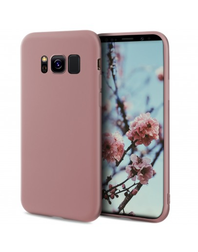 Moozy Minimalist Series Silicone Case for Samsung S8, Black - Matte Finish Slim Soft TPU Cover