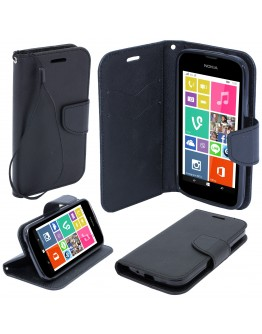 Moozy dual color Fancy Diary Book Wallet Case Flip cover with stand / wrist strap / Silicone phone holder for Nokia 530 Lumia Black