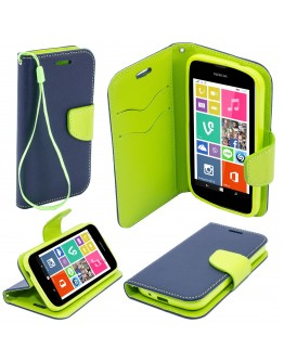 Moozy dual color Fancy Diary Book Wallet Case Flip cover with stand / wrist strap / Silicone phone holder for Nokia 530 Lumia Blue / Light Green