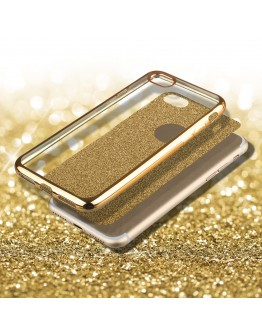 iPhone 6s Case, iPhone 6 Case silicone Glitter Gold - Moozy® Ultra Thin Flexible Soft Transparent TPU Silicone Bling Cover with Detachable Glitter