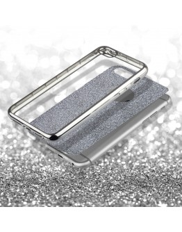 iPhone 6s Case, iPhone 6 Case silicone Glitter Silver - Moozy® Ultra Thin Flexible Soft Transparent TPU Silicone Bling Cover with Detachable Glitter