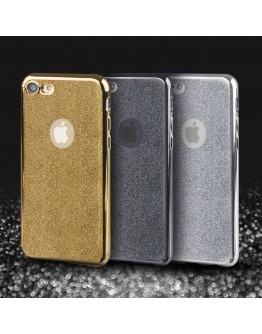 iPhone 7 Case, iPhone 8 Case silicone Glitter Gold - Moozy® Ultra Thin Flexible Soft Transparent TPU Silicone Bling Cover with Detachable Glitter