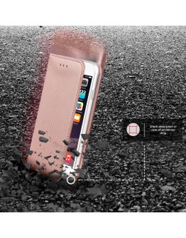 iPhone 6s Case, iPhone 6 case Flip cover Rose Gold - Moozy® Smart Magnetic Flip case with folding stand and silicone phone holder