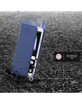 Alcatel Shine Lite case Flip cover Dark blue - Moozy® Smart Magnetic Flip case with folding stand and silicone phone holder