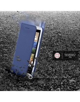HTC Desire 626 case Flip cover Dark blue - Moozy® Smart Magnetic Flip case with folding stand and silicone phone holder