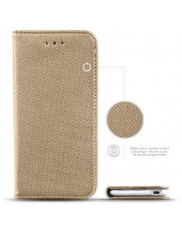 HTC Desire 530 case Flip cover Gold - Moozy® Smart Magnetic Flip case with folding stand and silicone phone holder