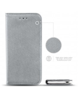 HTC Desire 530 case Flip cover Silver - Moozy® Smart Magnetic Flip case with folding stand and silicone phone holder
