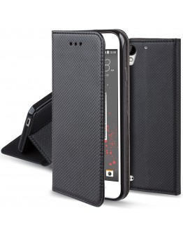 HTC Desire 530 case Flip cover Black - Moozy® Smart Magnetic Flip case with folding stand and silicone phone holder