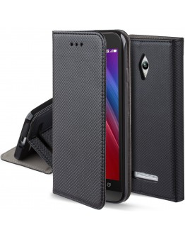 Asus Zenfone Go ZC500TG case Flip cover Black - Moozy® Smart Magnetic Flip case with folding stand and silicone phone holder