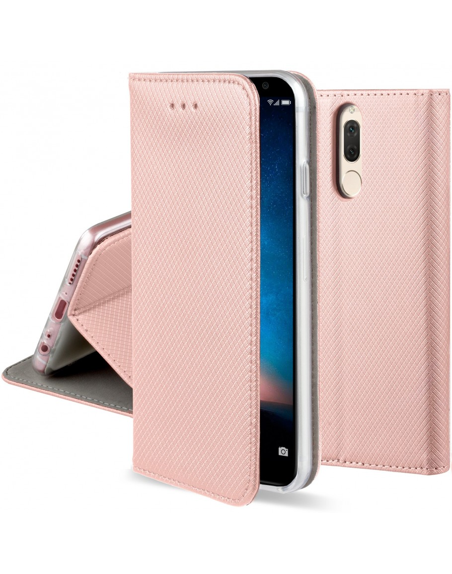 Huawei Mate 10 Lite case Flip cover Rose Gold - Moozy® Smart Magnetic Flip case with folding stand and silicone phone holder