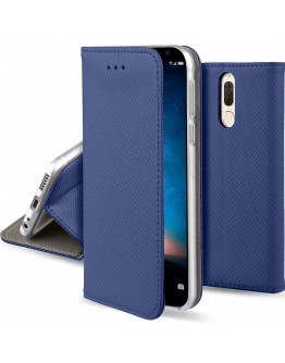 Huawei Mate 10 Lite case Flip cover Dark blue - Moozy® Smart Magnetic Flip case with folding stand and silicone phone holder