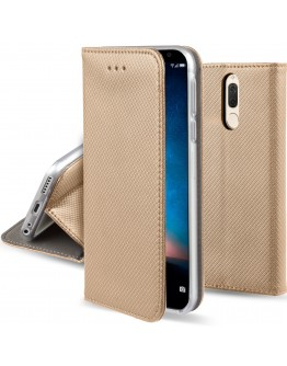 Huawei Mate 10 Lite case Flip cover Gold - Moozy® Smart Magnetic Flip case with folding stand and silicone phone holder
