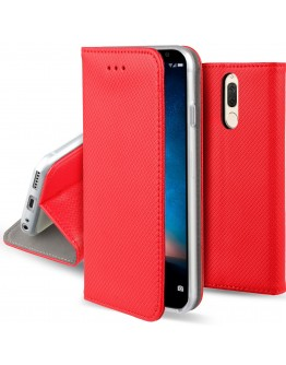 Huawei Mate 10 Lite case Flip cover Red - Moozy® Smart Magnetic Flip case with folding stand and silicone phone holder