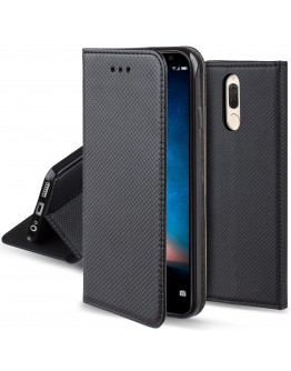 Huawei Mate 10 Lite case Flip cover Black - Moozy® Smart Magnetic Flip case with folding stand and silicone phone holder