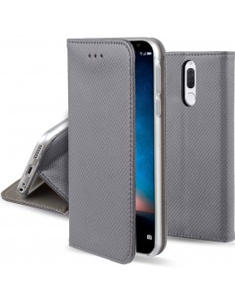 Huawei Mate 10 Lite case Flip cover Grey - Moozy® Smart Magnetic Flip case with folding stand and silicone phone holder