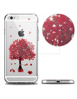 iPhone 7 Case Clear, iPhone 8 Case Silicone Transparent, Red Blossom Sakura Tree by Moozy® - Floral Crystal Clear TPU Cover with Real Flowers Design