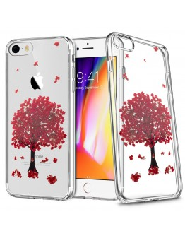 iPhone 6 Case Clear, iPhone 6s Case Silicone Transparent, Red Blossom Sakura Tree by Moozy® - Floral Crystal Clear TPU Cover with Real Flowers Design