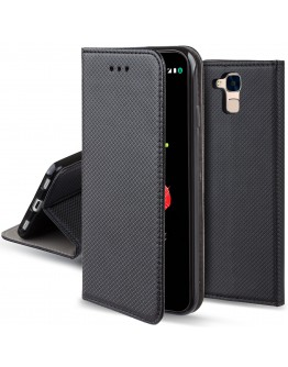 Huawei Honor 5C / Honor 7 Lite case Flip cover Black - Moozy® Smart Magnetic Flip case with folding stand and silicone phone holder