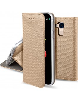 Huawei Honor 5C / Honor 7 Lite case Flip cover Gold - Moozy® Smart Magnetic Flip case with folding stand and silicone phone holder