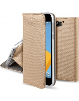 HTC One A9s case Flip cover Gold - Moozy® Smart Magnetic Flip case with folding stand and silicone phone holder