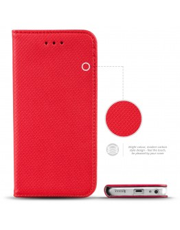 HTC One A9s case Flip cover Red - Moozy® Smart Magnetic Flip case with folding stand and silicone phone holder
