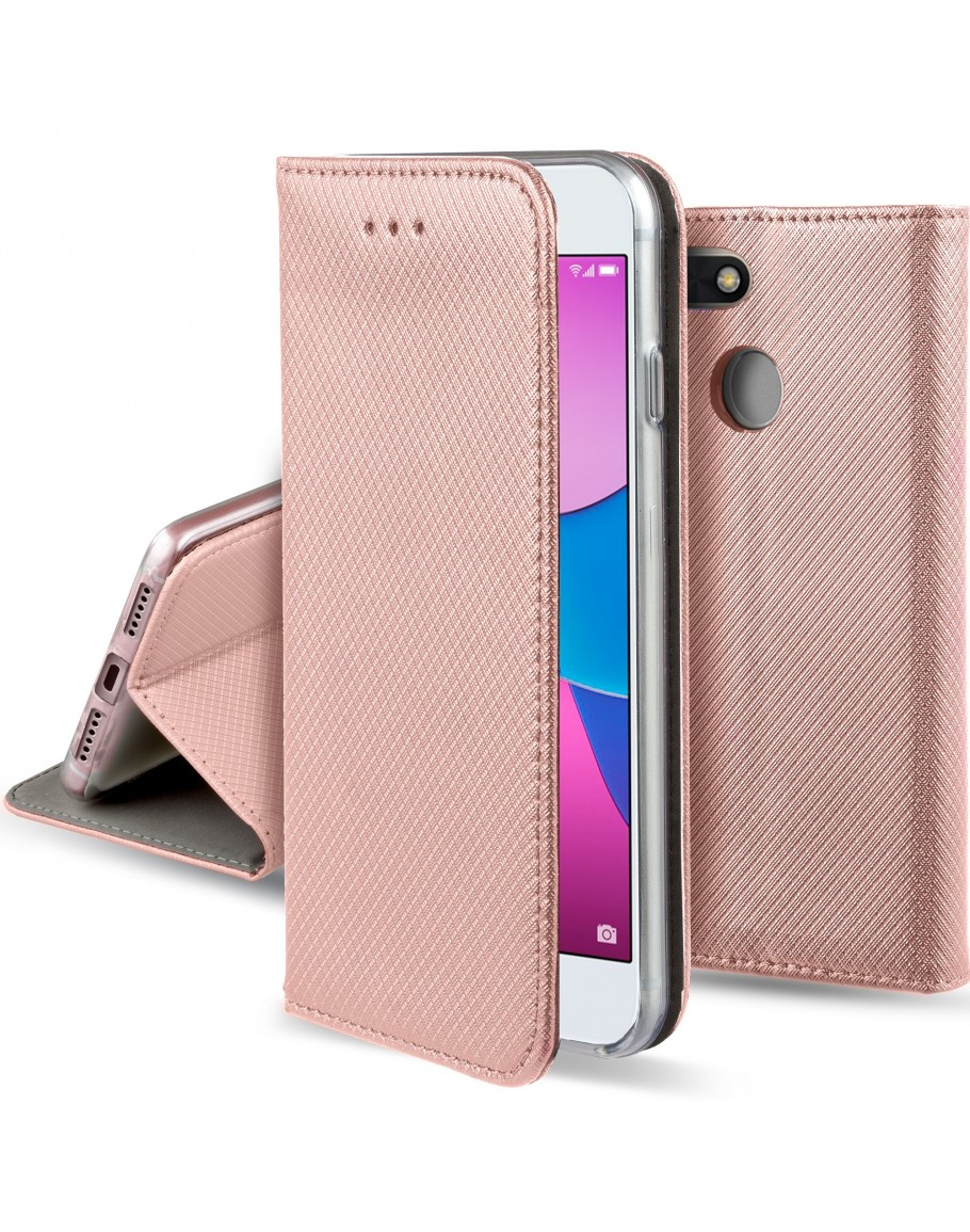 Huawei Y6 Pro 2017 case, Huawei P9 Lite Mini case Flip cover Rose Gold - Moozy® Smart Magnetic Flip case with folding stand and silicone phone holder