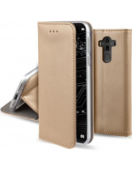 Huawei Mate 10 Pro case Flip cover Gold - Moozy® Smart Magnetic Flip case with folding stand and silicone phone holder