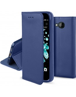 HTC U Play case Flip cover Dark blue - Moozy® Smart Magnetic Flip case with folding stand and silicone phone holder