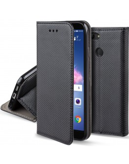 Huawei P Smart case Flip cover Black - Moozy® Smart Magnetic Flip case with folding stand and silicone phone holder