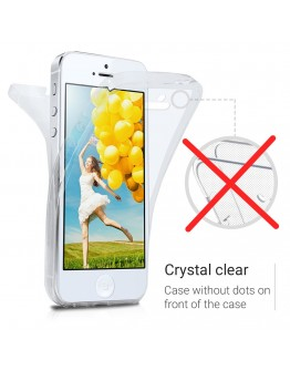 360 Degree iPhone SE Case, 360 Degree iPhone 5S Case by Moozy® Full body Slim Clear Transparent TPU Silicone Gel Cover