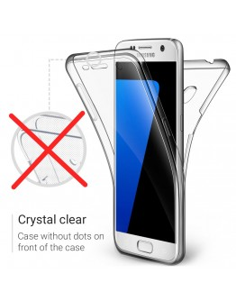 360 Degree Samsung S7 Case, 360 Degree Samsung Galaxy S7 Case by Moozy® Full body Slim Clear Transparent TPU Silicone Gel Cover