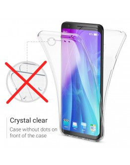 360 Degree Samsung A8 2018 Case by Moozy® Full body Front and Back Slim Clear Transparent Silicone Gel Cover