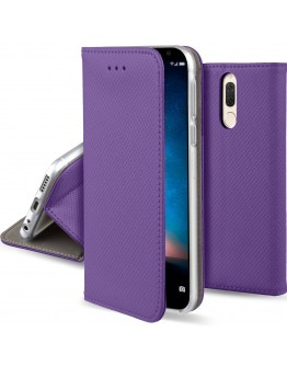 Huawei Mate 10 Lite case Flip cover Purple - Moozy® Smart Magnetic Flip case with folding stand and silicone phone holder