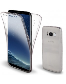 360 Degree Samsung S8 Case, 360 Degree Samsung Galaxy S8 Case by Moozy® Full body Slim Clear Transparent TPU Silicone Gel Cover
