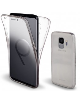 360 Degree Samsung S9 Case, 360 Degree Samsung Galaxy S9 Case by Moozy® Full body Slim Clear Transparent TPU Silicone Gel Cover
