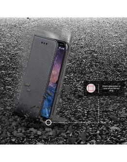 Moozy case Flip cover for Nokia 7 Plus, Black - Smart Magnetic Flip case with folding stand
