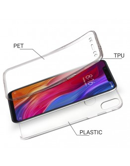 Moozy 360 Degree Case for Xiaomi Mi 8 - Transparent Full body [Hard PC Back and Soft TPU Silicone Front] Slim Cover