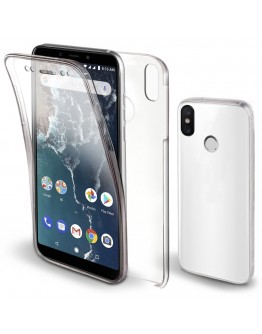 Moozy 360 Degree Case for Xiaomi Mi A2 - Transparent Full body [Hard PC Back and Soft TPU Silicone Front] Slim Cover