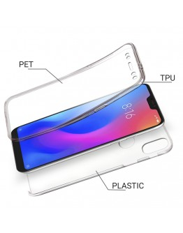 Moozy 360 Degree Case for Xiaomi Mi A2 Lite / Redmi 6 Pro - Transparent [Hard PC Back and Soft TPU Silicone Front] Cover