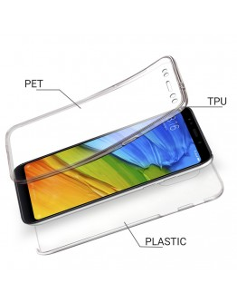 Moozy 360 Degree Case for Xiaomi Redmi 5 Plus - Transparent Full body [Hard PC Back and Soft TPU Silicone Front] Slim Cover