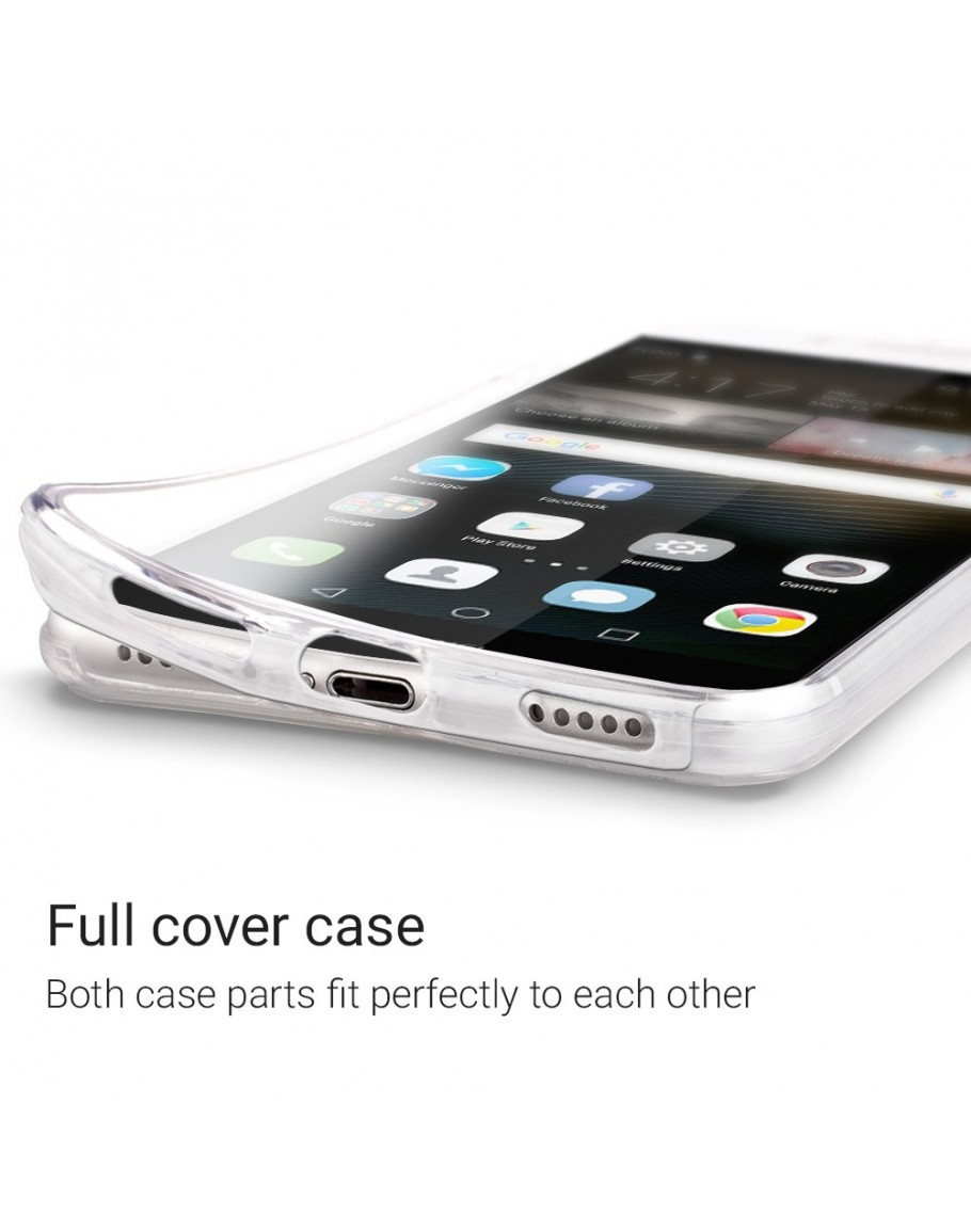 Moozy 360 Degree Case for Huawei P8 Lite 2017 - Transparent Full body [Hard PC Back and Soft TPU Silicone Front] Slim Cover