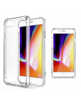 iPhone 7 Case Clear, iPhone 8 Case Shockproof Clear Silicone Case Cover by Moozy® - Crystal Clear Transparent Silicone Soft TPU Cover
