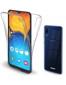 Moozy 360 Degree Case for Samsung A20, A30 - Full body Front and Back Slim Clear Transparent TPU Silicone Gel Cover