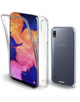 Moozy 360 Degree Case for Samsung A10 - Transparent Full body Slim Cover - Hard PC Back and Soft TPU Silicone Front