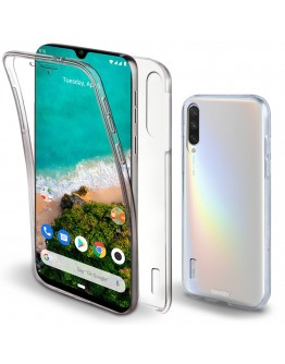 Moozy 360 Degree Case for Xiaomi Mi A3 - Transparent Full body Slim Cover - Hard PC Back and Soft TPU Silicone Front
