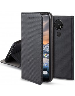 Moozy Case Flip Cover for Nokia 7.2, Nokia 6.2, Black - Smart Magnetic Flip Case with Folding Stand