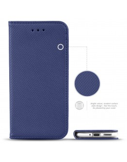 Moozy Case Flip Cover for Nokia 7.2, Nokia 6.2, Dark Blue - Smart Magnetic Flip Case with Folding Stand