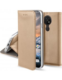 Moozy Case Flip Cover for Nokia 7.2, Nokia 6.2, Gold - Smart Magnetic Flip Case with Folding Stand
