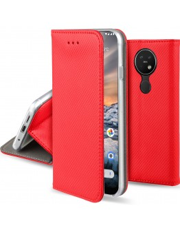 Moozy Case Flip Cover for Nokia 7.2, Nokia 6.2, Red - Smart Magnetic Flip Case with Folding Stand