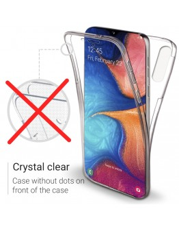 Moozy 360 Degree Case for Samsung A20e - Full body Front and Back Slim Clear Transparent TPU Silicone Gel Cover